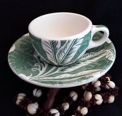 "2 Classic Wallace China Green ""Shadow Leaf"" Coffee Cup & Saucer Sets, Excellent"