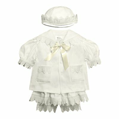 Baby Girl Sailor Outfit Organic Cotton White Lace Holiday Christening Gift Set