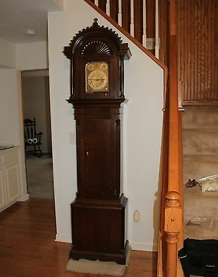 Winterhalder & Hofmeier Clock, Edwardian Style Carved Oak Hall Clock