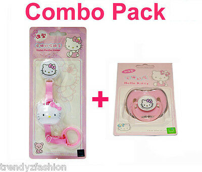 Combo Sale A: Hello Kitty Sanrio Baby Pink Dummy Pacifier & Leash Strap w/ Cover