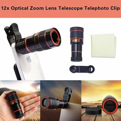 Telescope Telephoto Clip on For Mobile Cell Phone Camera 12x Optical Zoom Lens