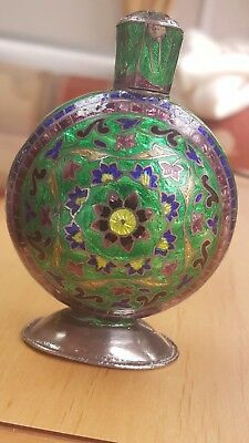 Vintage Cloisonne Indian Victorian ? 875 enamelled silver perfume bottle