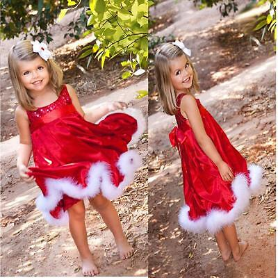 Baby Kids Girl Christmas Party Dress Bling Paillette Tutu Dresses Xmas Gift Red