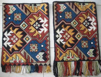 """2 Vintage completed wool needlepoint tapestry wall decor rug 16""""x21.5"""", 16.5""""x22"""