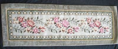 """Vintage completed wool needlepoint tapestry wall decor rug ROSES 46""""x16"""""""