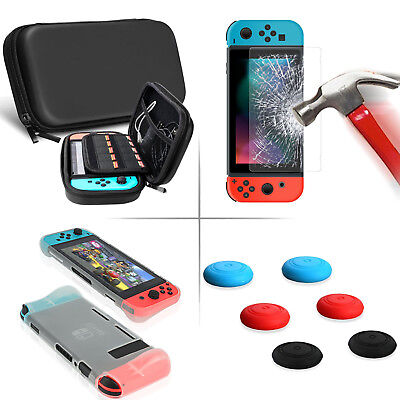3in1 Nintendo Switch Hard Carrying Carry Case Bag +Glass SCREEN + Silicone Case