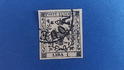 ITALY 1852 1 Lire Modena Used Stamp in Nice Condition as Per Photos CV $4.125.00