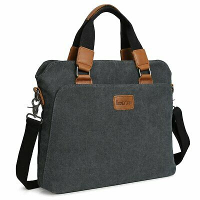 "Men's Vintage Canvas Handbag Shoulder Bag Casual Briefcase Tote For 14"" Laptop"