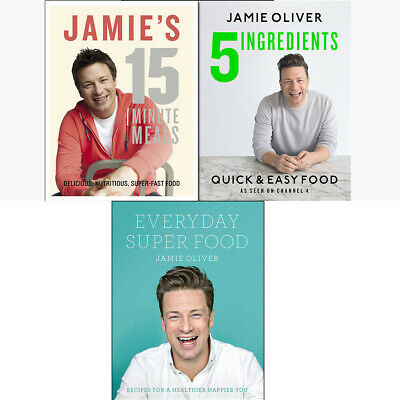 Jamie Oliver Collection 3 Books Set 5 Ingredients,15-Minute Meals Brand New