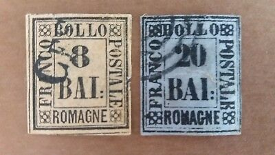 ITALY 1859 2 Great Romagne Used Stamps as Per Photo. CV $9.175.00. Bargain