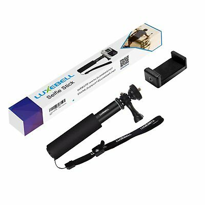 Selfie Stick Telescopic Pole Pocket Size With Phone Clip Holder For Go Pro Black