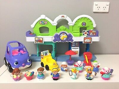 Fisher Price Little People Animalville Town Center and Purple Car Pretend Play
