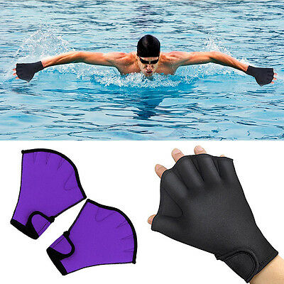 1 Pair Stylish Swimming Aquatic Fitness Water Resistance Fingerless Gloves HOT