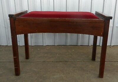Piano Seat / Stool - Double , Mahogany Velvet Lid Storage Compartment - Vintage