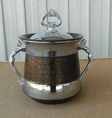Vintage Retro 1960s Ice Bucket Chrome Faux Leather and Mermaid Handles