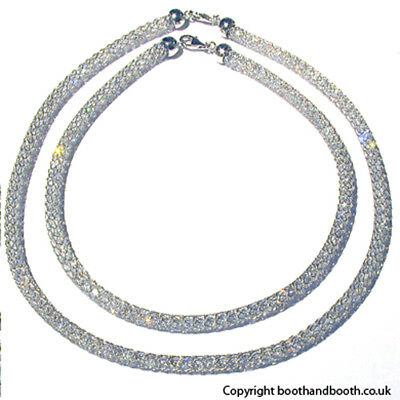 """Italian Sterling Silver Crystal Mesh Necklace, Width 8mm, Lengths 16"""" - 20"""""""