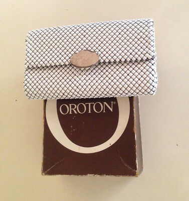 Vintage Oroton Glomesh Clutch Bag White and Silver and Box