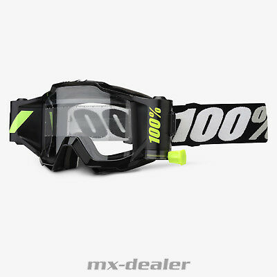 100 % Prozent Accuri Forecast MX Motocross Cross Brille Black Tornado Roll Off