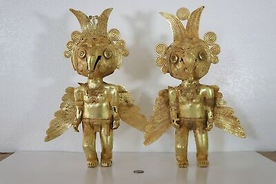 Rare Colombian Gold-Copper Tumbaga -  Large Heavy Macaw Pair - Mythical Pair