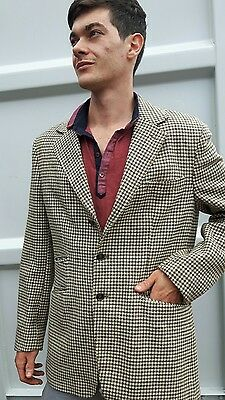 1970s Mens Check Wool  Hacking Jacket 42 inch Chest Great for Goodwood Revival