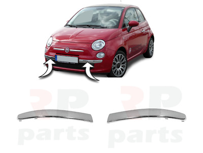 For Fiat 500 New Front Lower Bumper Chrome Molding Pair Set Left+Right 2008-2014