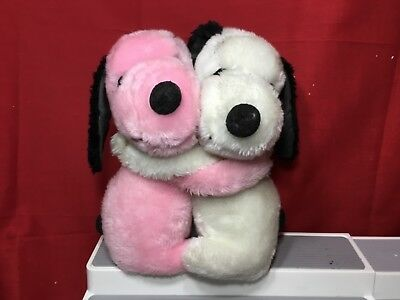 """2 12"""" Hugging Snoopy Stuffed Dogs. Pink n White"""