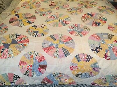 Gorgeous Vintage Feedsack Circle Quilt Super Soft And Colorful