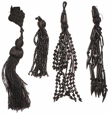 Antique Victorian Tassels Lot of Four Assorted Jet Beads and Silk