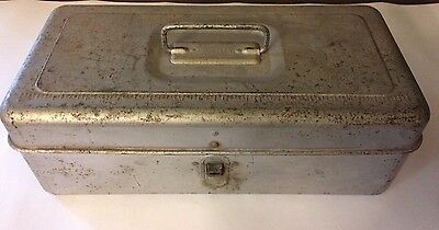 """Vintage Liberty Steel Chest Tackle Box Loc-Wel Silver 13"""" Tackle or Tool Box USA"""