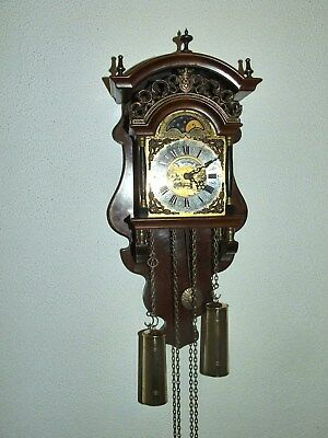 "Dutch Warmink/Wuba ""Sallander"" Moondial  Wall Clock,8 days Movement,Bell Chimes"