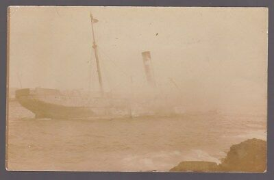 Shipping SHIPWRECK 1908 Sardinia on Fire at Malta carrying pilgims to MECCA