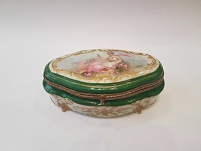 Old Antique French Sevres Napoleonic Porcelain  Hand Painted  Jewelry Box