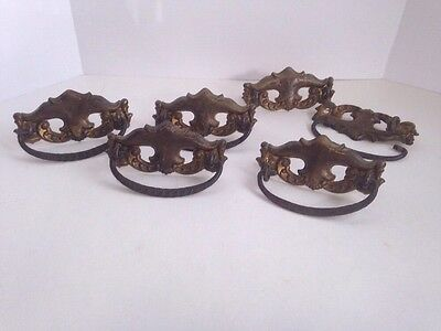 Lot of 6 Antique Unique Cast Brass Ornate Drawer Drop Handles Pulls Drop Bail