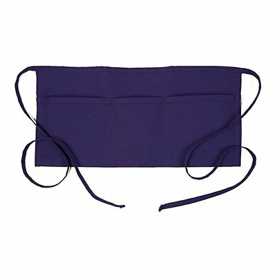 Restaurant Waiter Waitress Barista Half Bib 3-Pocket Waist Apron – Purple