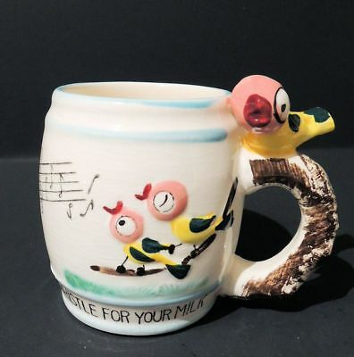 Vintage 1950's Child's Whistle For Your Milk Mug with Chirping Birds