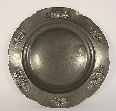 """NORSK Signed Arbeide Norway 16"""" Hand Hammered Norwegian Pewter Charger Tray"""