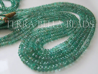 """6.5"""" AAA ZAMBIAN EMERALD faceted precious gem stone rondelle beads 2mm - 3.5mm"""