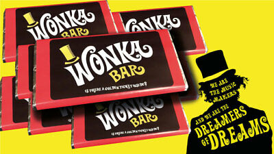 Willy Wonka Chocolate Bar Gift Golden Ticket Inside Christmas Stocking filler