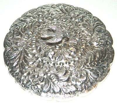 Turkish ? Wedding Mirror w/ 900 Silver Repousse Surround & Bird Handle