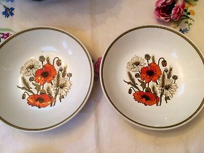 "2 x J & G Meakin Studio POPPY Soup/Cereal Bowls/Dishes 7.5"" Vintage Retro"