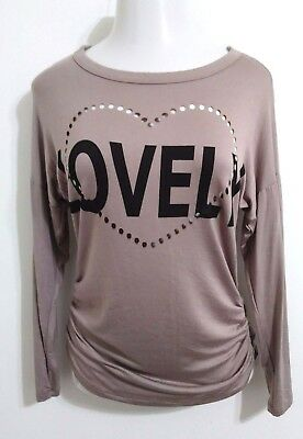 NWOT Vanilla Bay Lovely  Taupe Top Tee Long Sleeve Shirring on hip Size Large