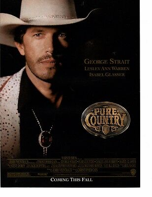 George Strait 1 Page Magazine Movie Ad Picture Clipping Country Music