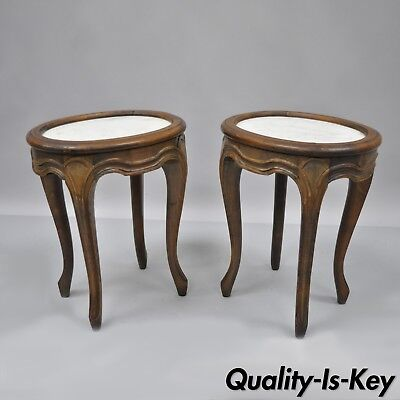 Pair of Italian Walnut Small Marble Top Country French Louis XV Side End Tables