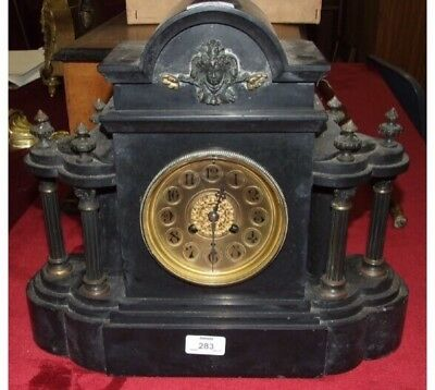 "French Marti Marble Case Striking Mantle Clock Black Gilt Face GWO 14""H16""L"