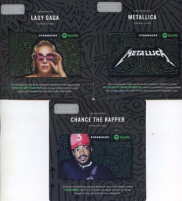3 NEWEST LADY GAGA METALLICA CHANCE THE RAPPER Limited  STARBUCKS gift cards HTF