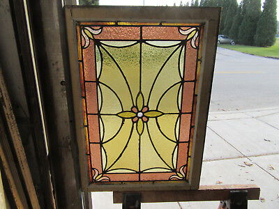 ~ Antique American Stained Glass Window ~ 24 X 33 1 Of 2 ~ Architectural Salvage