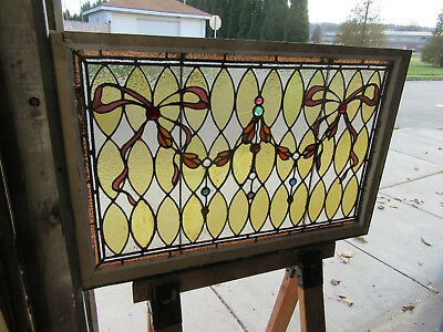 ~ ANTIQUE STAINED GLASS WINDOW 13 JEWELS ~ 42 x 27 ~ ARCHITECTURAL SALVAGE