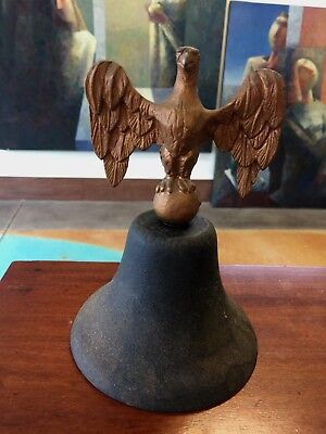OLD Cast Iron Bell Indoor Outdoor Vintage American Eagle AS IS  No Clapper