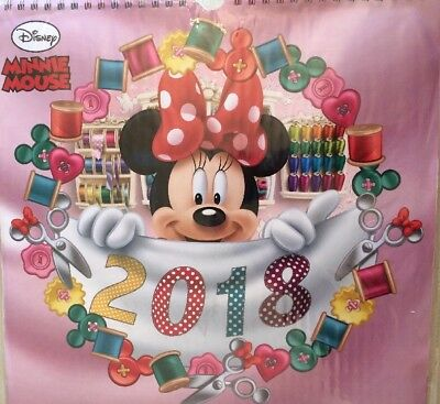 """MINNIE MOUSE DISNEY 2018 CALENDAR UK SQUARE WALL ( 11"""" x 11"""") NEW AND SEALED"""