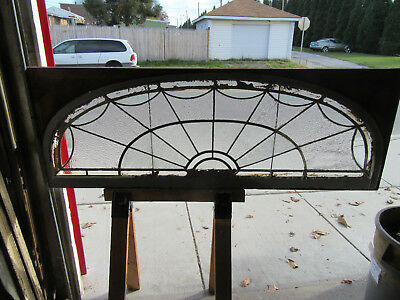 ~ Antique Stained Glass Fanlight Transom Window 70 X 25 Architectural Salvage
